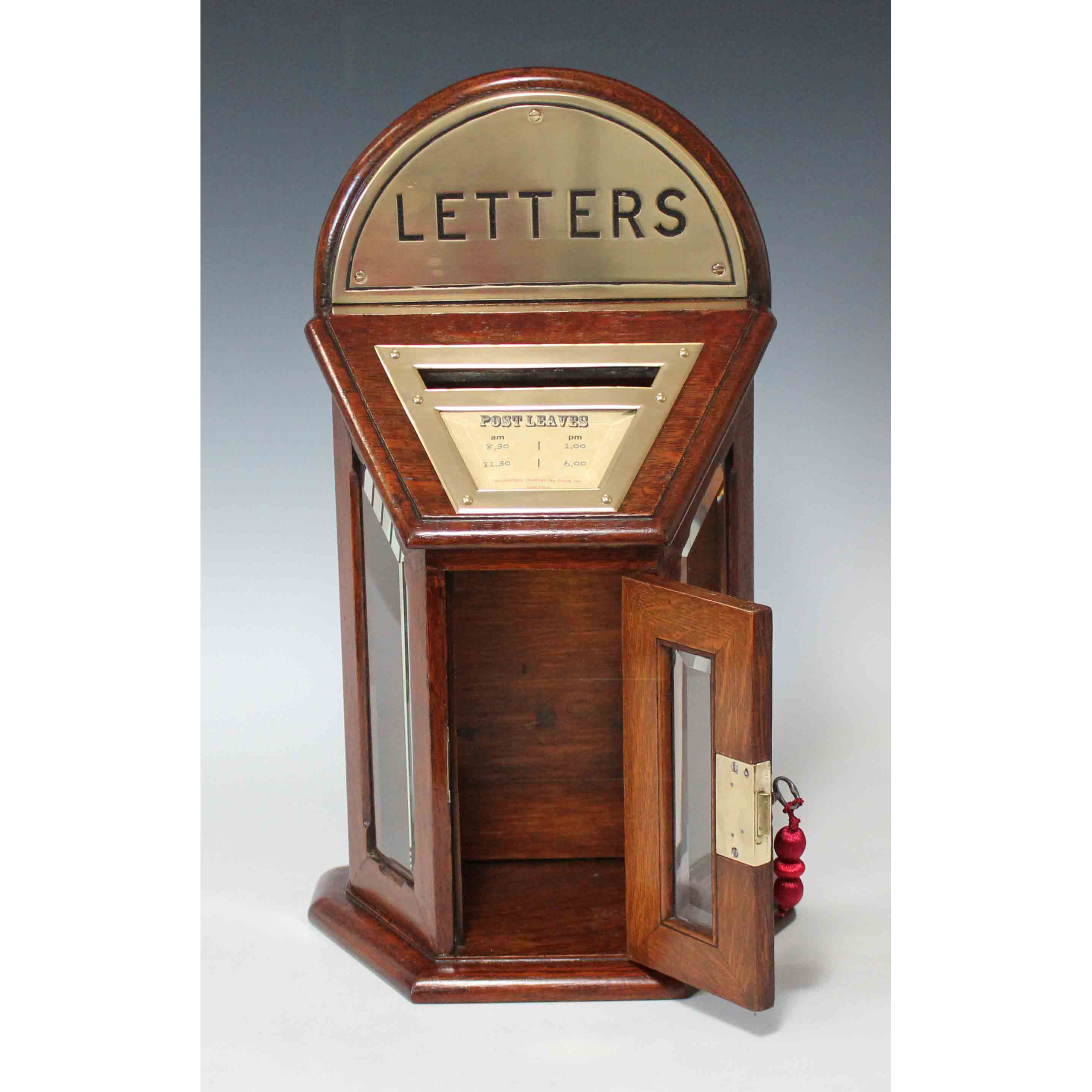 A Victorian Hexagonal Oak Country House Post Letter Box