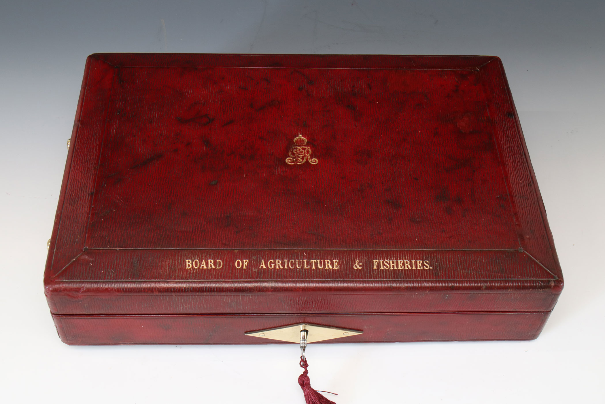 A George V Wickwar Red Leather Government Dispatch Box
