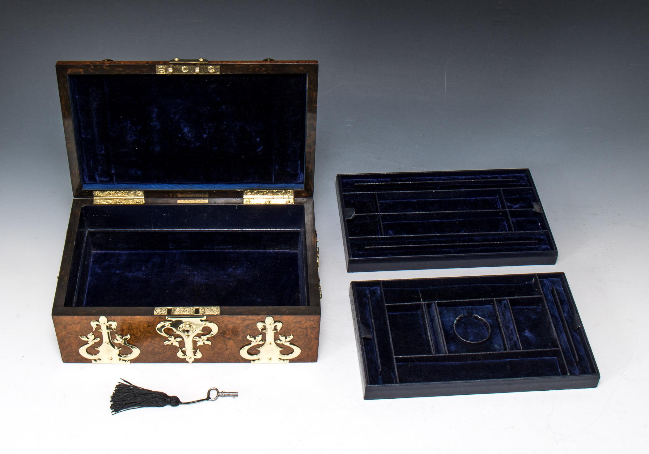 Howell James Amp Co Victorian Burr Walnut Jewellery Box