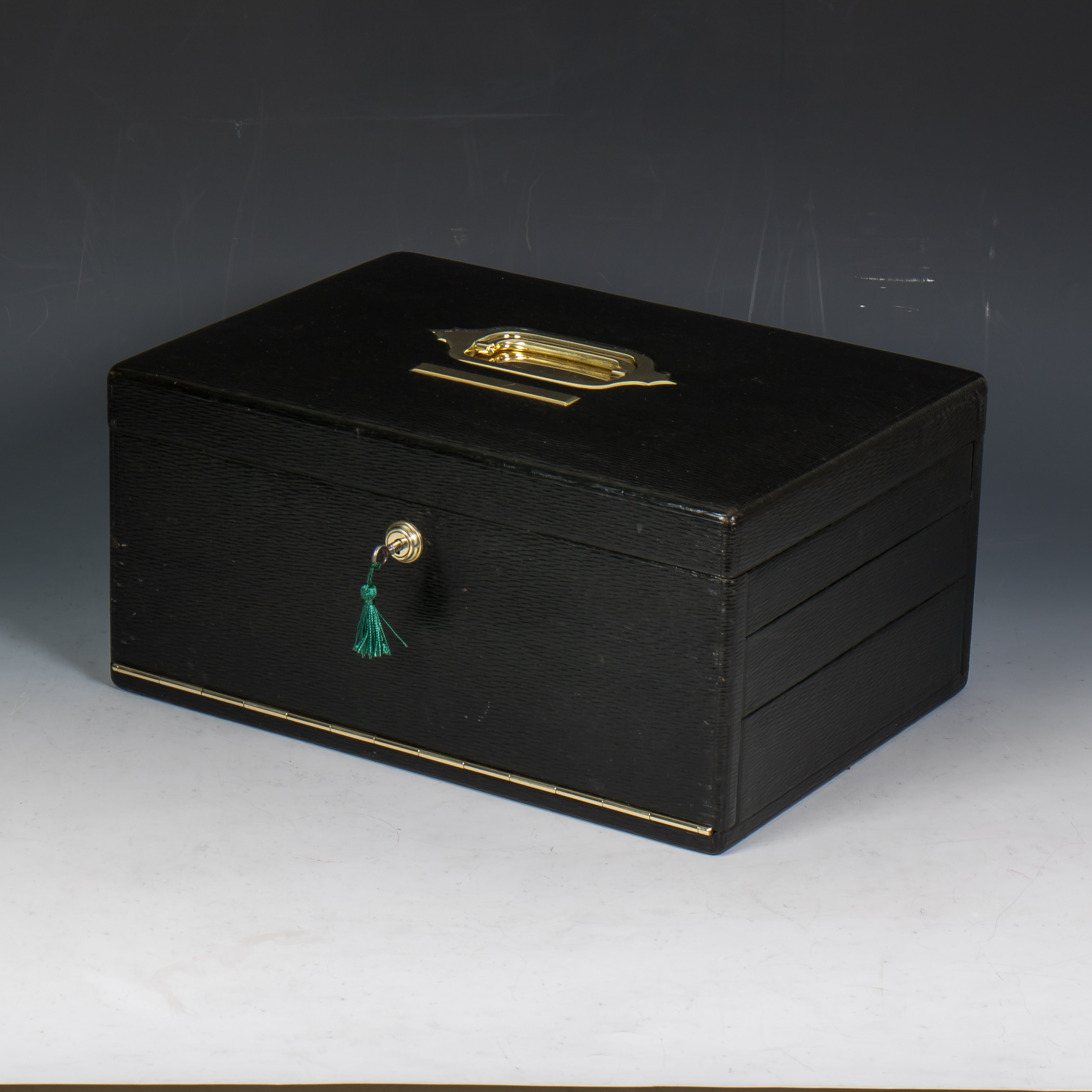 Large Victorian Black Leather Jewel Box With Four Side