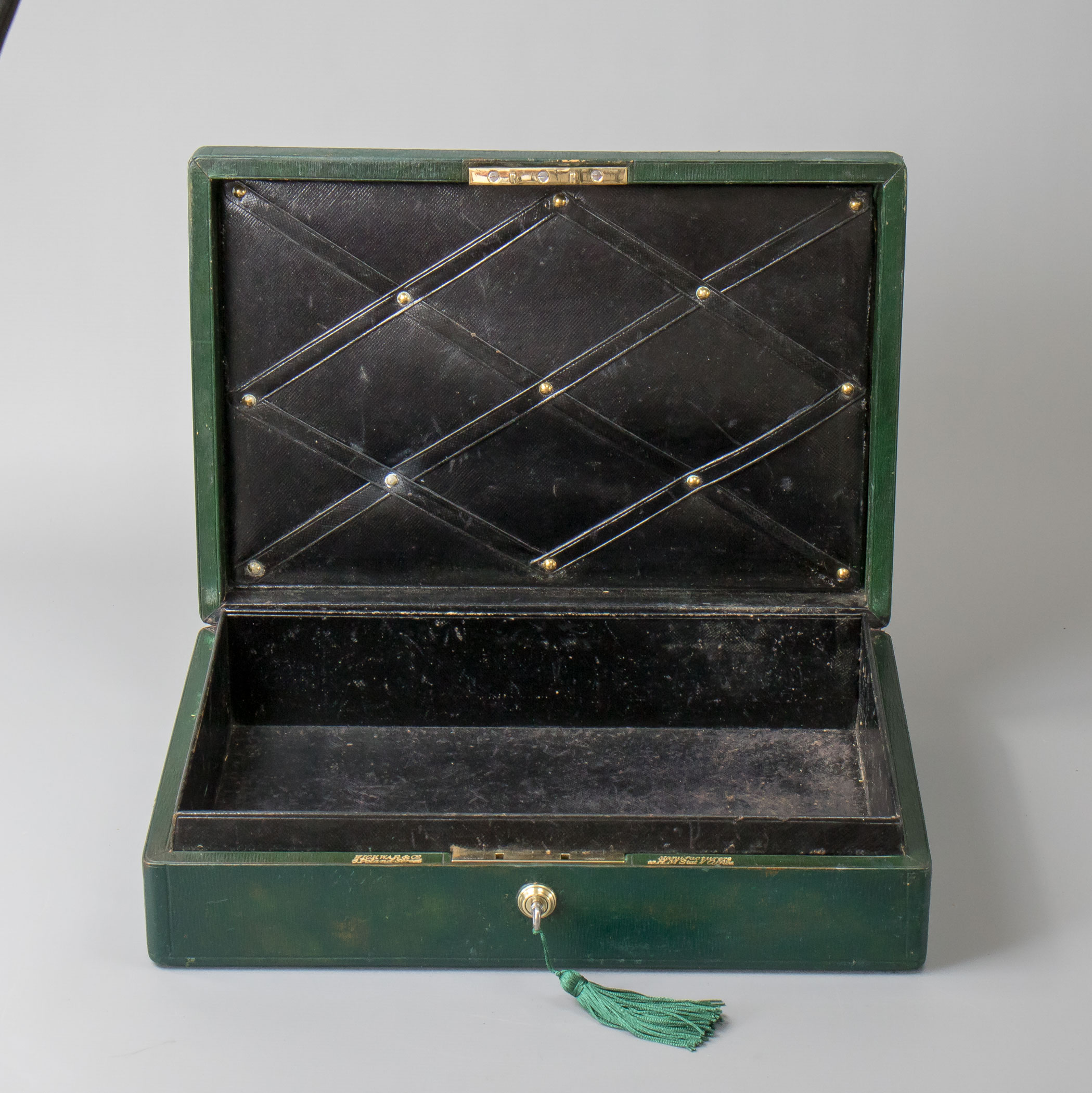 Edwardian Green Leather Wickwar Dispatch Box Government
